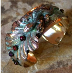 NAP56bc Verdigris Patina Solid Brass Lizard on Leaves Cuff - Amethyst, Carnelian, Garnet