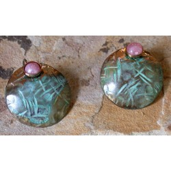 TTP 482e Verdigris Patina Brass Hand Hammered Textured Tealeaf Domed Circle Earrings - Rhodochrosite