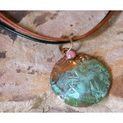 TTP 46pd Verdigris Patina Brass Hand Forged Textured Tealeaf Domed Circle Tag Pendant on Rawhide - Rhodochrosite
