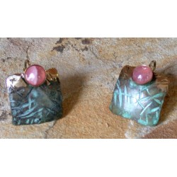 TTP 888e Verdigris Patina Brass Hand Hammered Textured Tealeaf Small Domed Square Earrings - Rhodochrosite