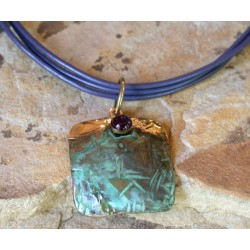 TTP 43pd Verdigris Patina Brass Hand Forged Textured Tealeaf Tag Pendant on Rawhide - Amethyst