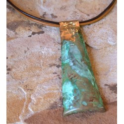 TTP 100pd Verdigris Patina Brass Hand Forged Textured Tealeaf Contemporary Concept Pendant