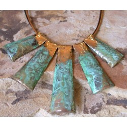 TTP 105n Verdigris Patina Brass Hand Forged Textured Tealeaf Contemporary Graduated Concept Necklace