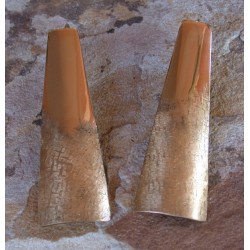SIT 840e Silk Textured Forged Solid Brass Elongated Contemporary Tapered Barrel Earrings