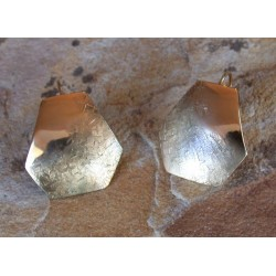 SIT 606e Silk Textured Forged Solid Brass Contemporary Elongated Domed Hexagon Earrings