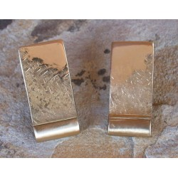 SIT 111e Silk Textured Forged Solid Brass Rectangle with Ridge Earrings