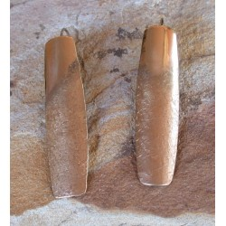 SIT 401e Silk Textured Forged Solid Brass Contemporary Elongated Curved Barrel Earrings