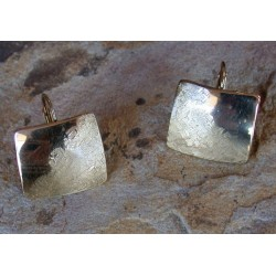SIT 8883e Silk Textured Forged Solid Brass Contemporary Classic Domed Square Earrings