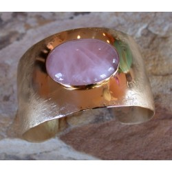 SIT 616cf Silk Textured Forged Solid Brass Tapered Cuff - Rose Quartz