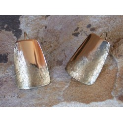SIT 501e Silk Textured Forged Solid Brass Contemporary Tapered Barrel Earrings