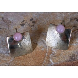 SIT 888e Silk Textured Forged Solid Brass Contemporary Classic Domed Square Earrings - Rose Quartz