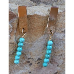 SIT 219e Silk Textured Forged Solid Brass Classic Narrow Elongated Rectangle Earrings - Turquoise
