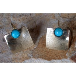 SIT 888e Silk Textured Forged Solid Brass Contemporary Classic Domed Square Earrings - Turquoise