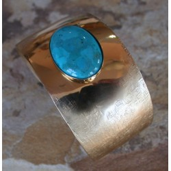 SIT 617cf Silk Textured Forged Solid Brass Tapered Cuff - Turquoise