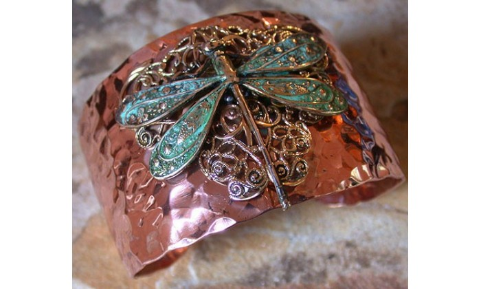 Dragonfly and Butterfly Wearable Hand Forged Copper by Elaine Coyne