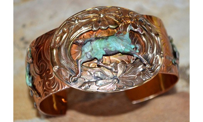 Neo-Victorian Handforged Copper and Patina Brass Jewelry in Equestrian