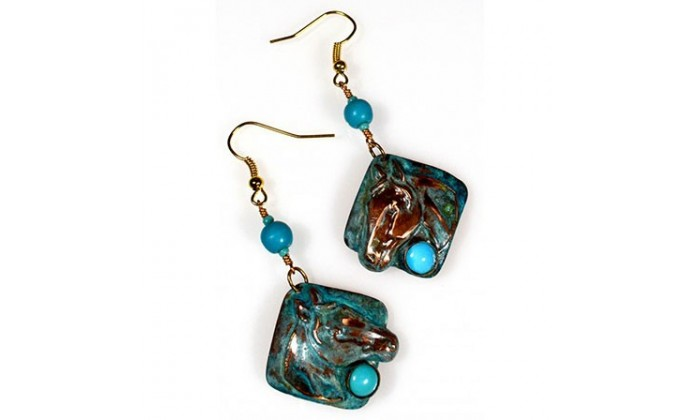 Equestrian Wearable Art Earrings by Elaine Coyne Galleries.
