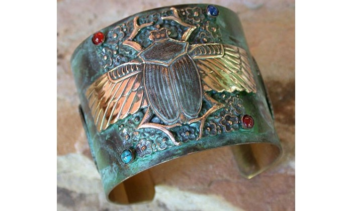 Ancient Egyptian Motif Wearable Art Cuffs designed by Elaine Coyne and