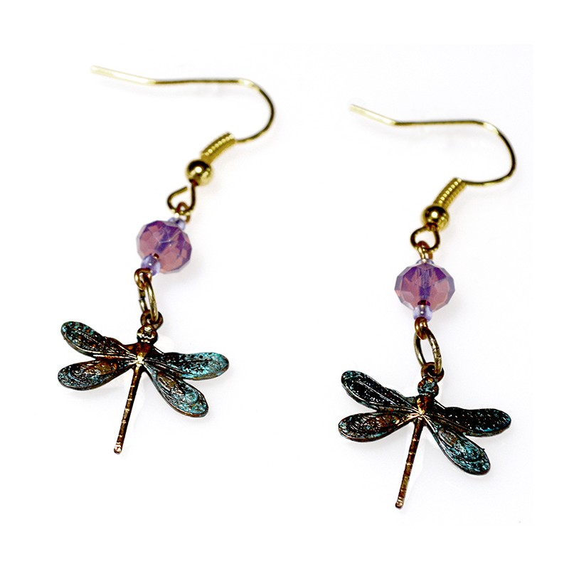 Patina Delicate Dragonfly Earrings