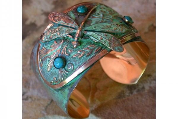 Dragonfly Victorian Floral Motif Cuff with Turquoise